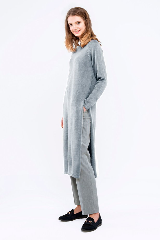 Light-grey tunic with slits photo 4 - MustHave online store