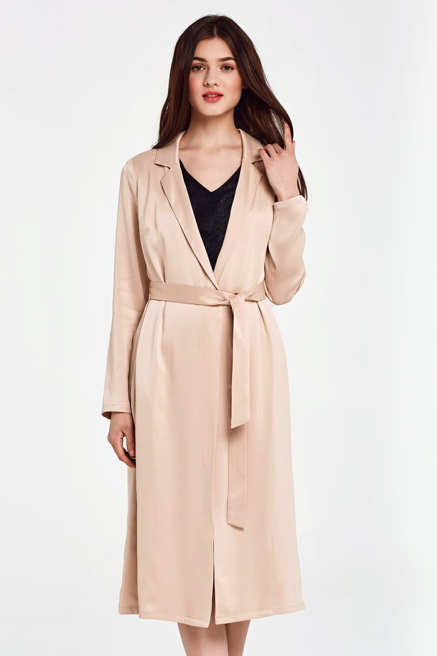 Below the knee wrap beige trenchcoat with a belt photo 4 - MustHave online store