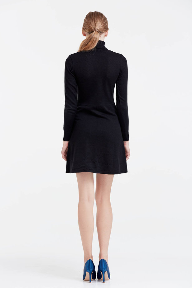 Black knitted dress photo 3 - MustHave online store