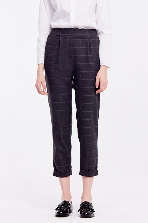Loose grey checkered pants with cuffs