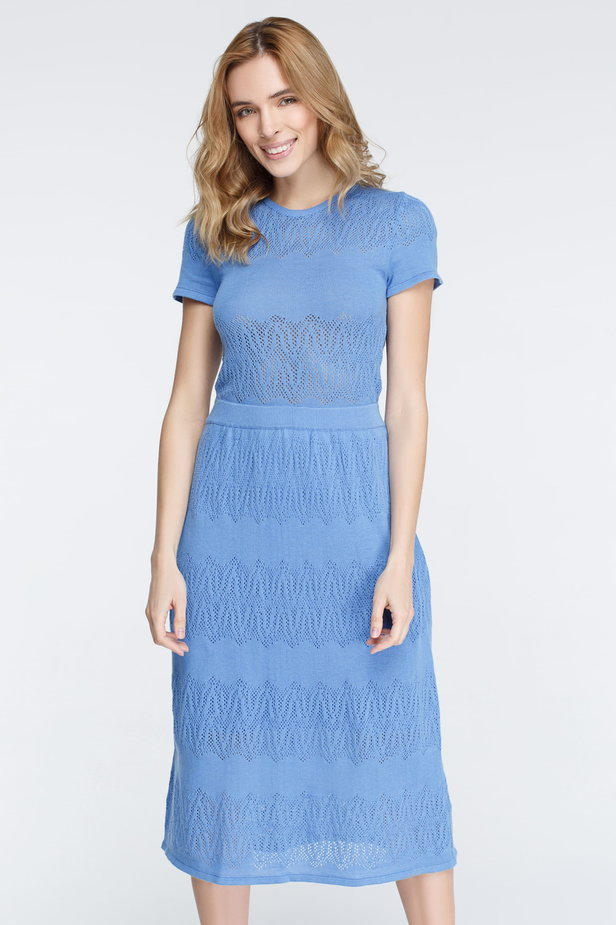 Blue knitted dress photo 3 - MustHave online store