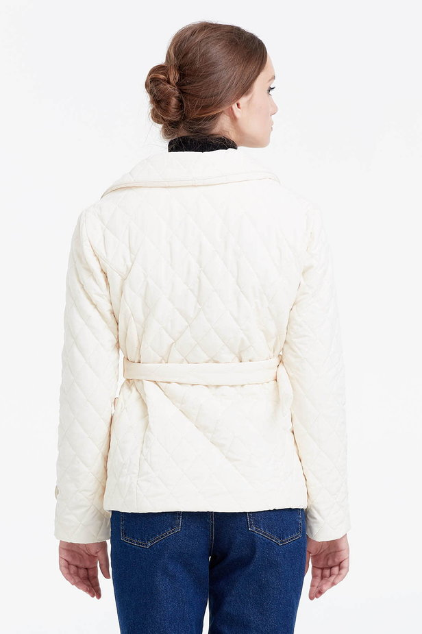 Milky coat with a belt photo 4 - MustHave online store