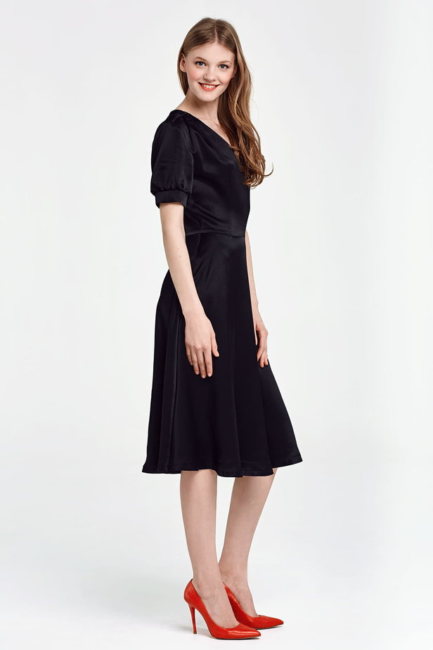 Black V-neck dress below the knee photo 5 - MustHave online store