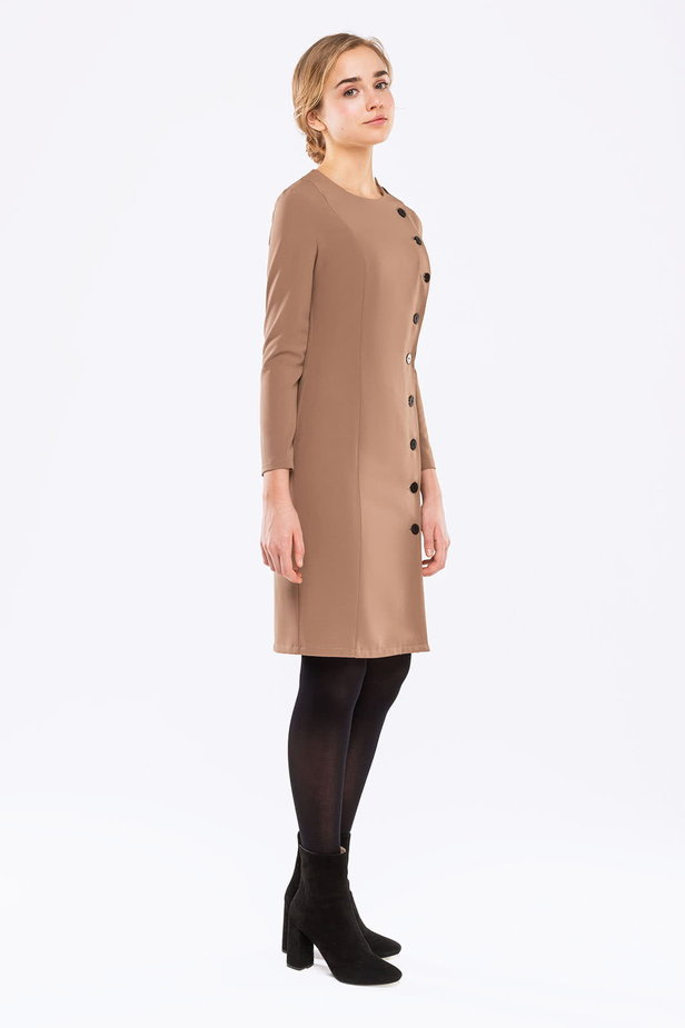 Beige dress with buttons photo 4 - MustHave online store