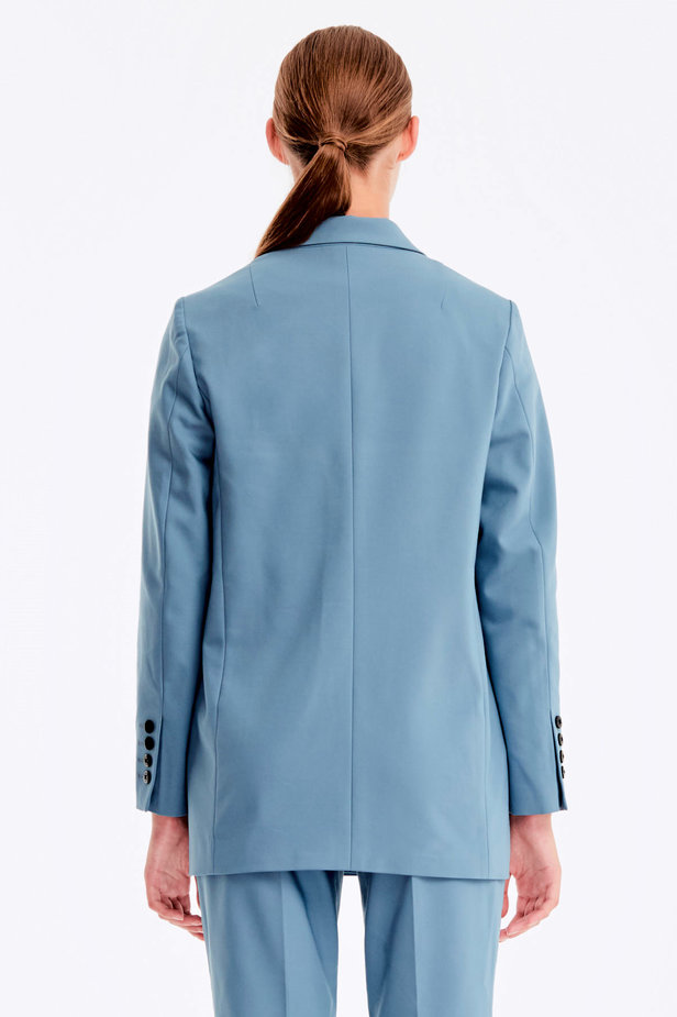 Double-breasted blue jacket with pockets photo 6 - MustHave online store