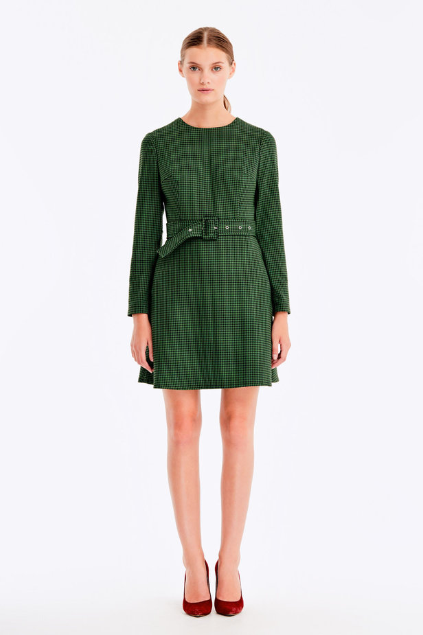 Green dress with a houndstooth print photo 3 - MustHave online store