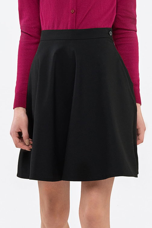 Mini flared black skirt
