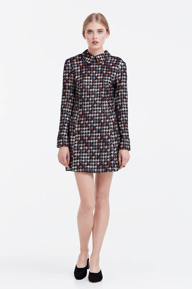 Mini dress with a houndstooth print and a collar photo 2 - MustHave online store