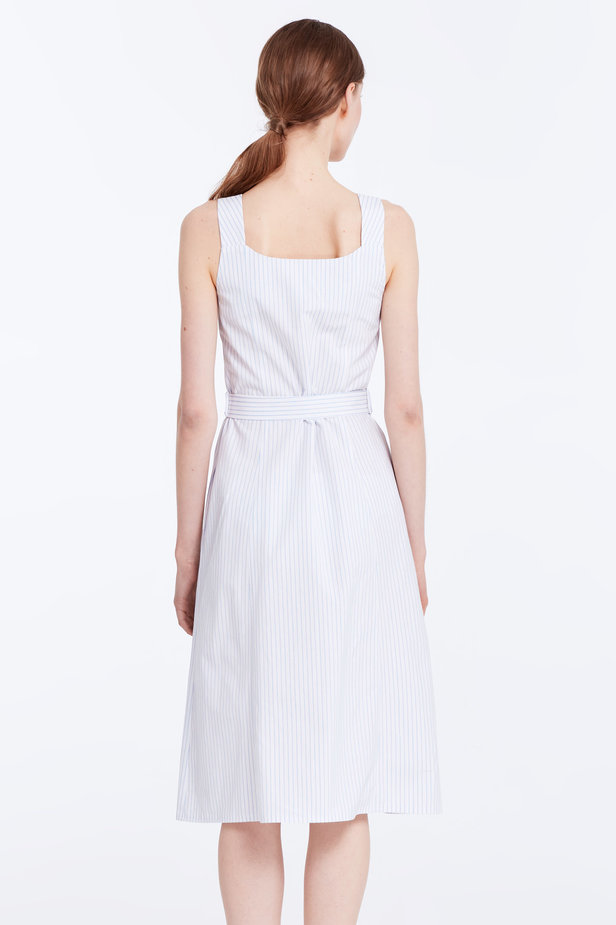 White sundress with blue stripes and a belt photo 5 - MustHave online store
