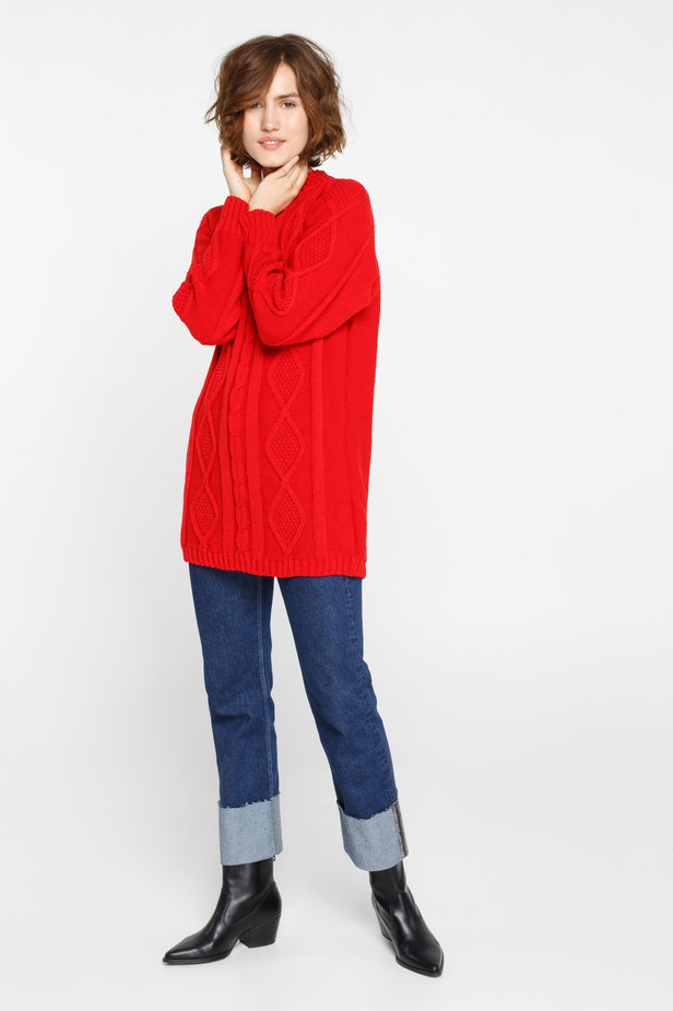 Long red sweater with braids photo 3 - MustHave online store