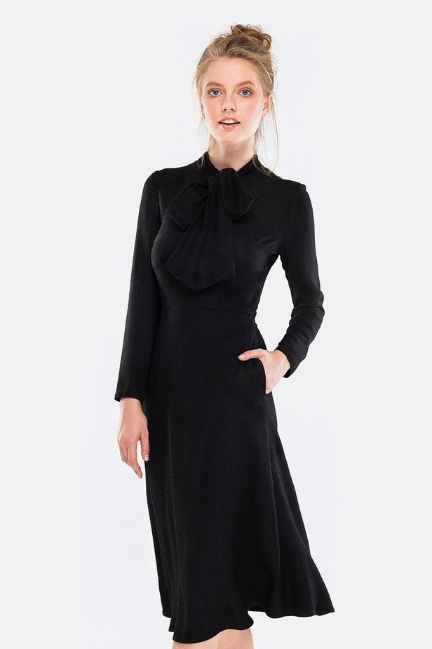 Midi black dress with a bow photo 1 - MustHave online store
