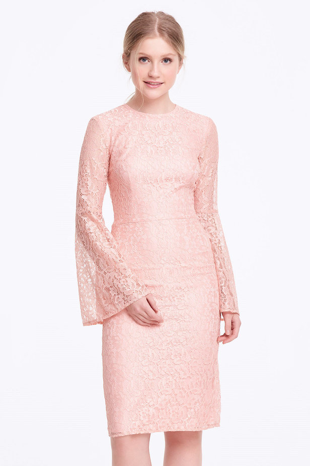 Column powder pink lace dress with flared sleeves photo 1 - MustHave online store
