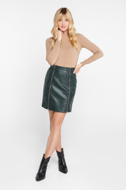 Green leather mini skirt with zippers