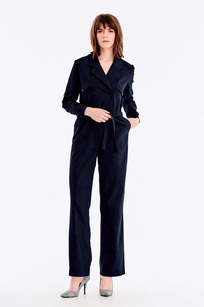 Dark-blue double-breasted jumpsuit with a belt
