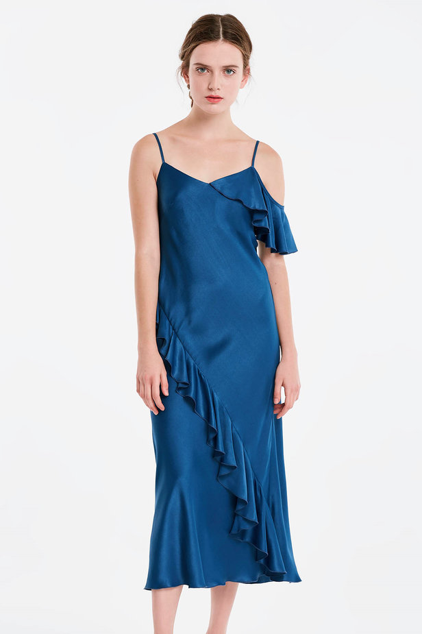 Blue sundress with flounces photo 1 - MustHave online store
