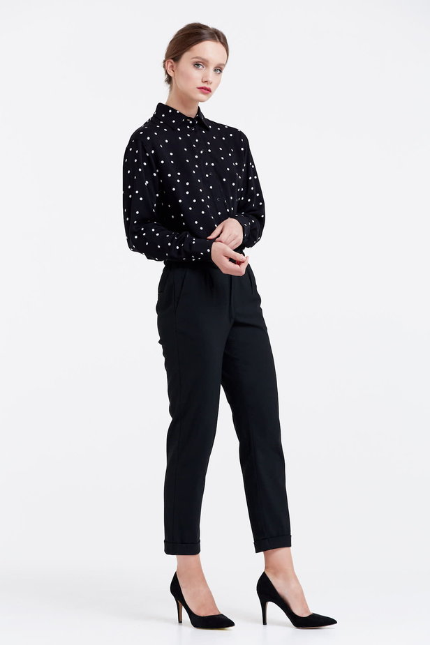 Black shirt with a white polka dot print photo 5 - MustHave online store