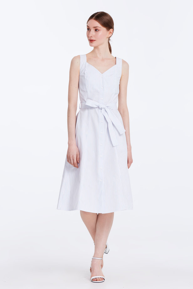 White sundress with blue stripes and a belt photo 3 - MustHave online store