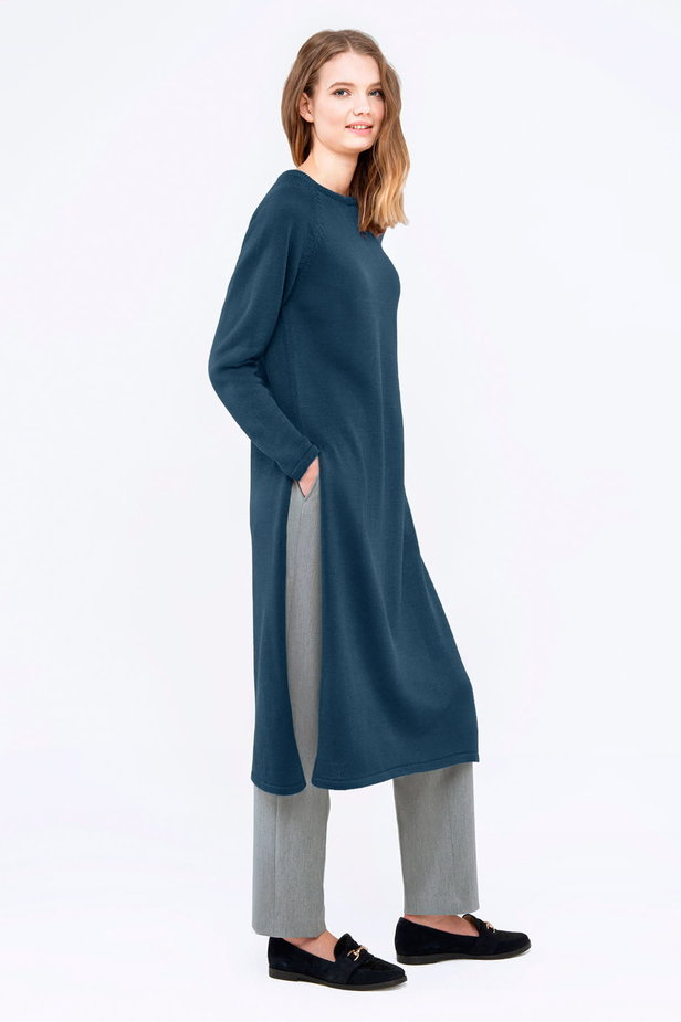 Blue tunic with slits photo 4 - MustHave online store
