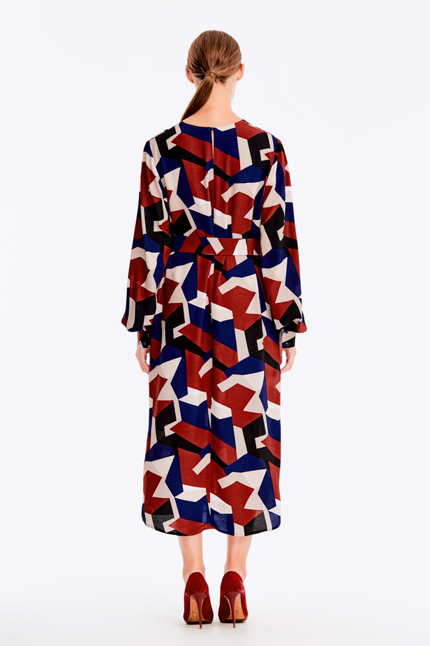 Free midi dress with variegated geometric print ¶¶ photo 7 - MustHave online store
