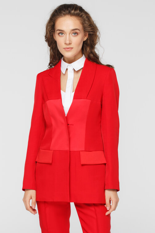 Red cut out jacket with satin effect details FROLOV × MUST HAVE