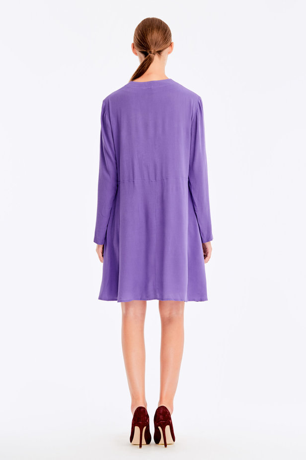 Violet dress with ties photo 6 - MustHave online store