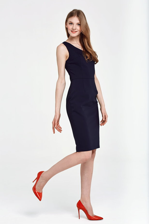 Below the knee column dark blue dress photo 5 - MustHave online store