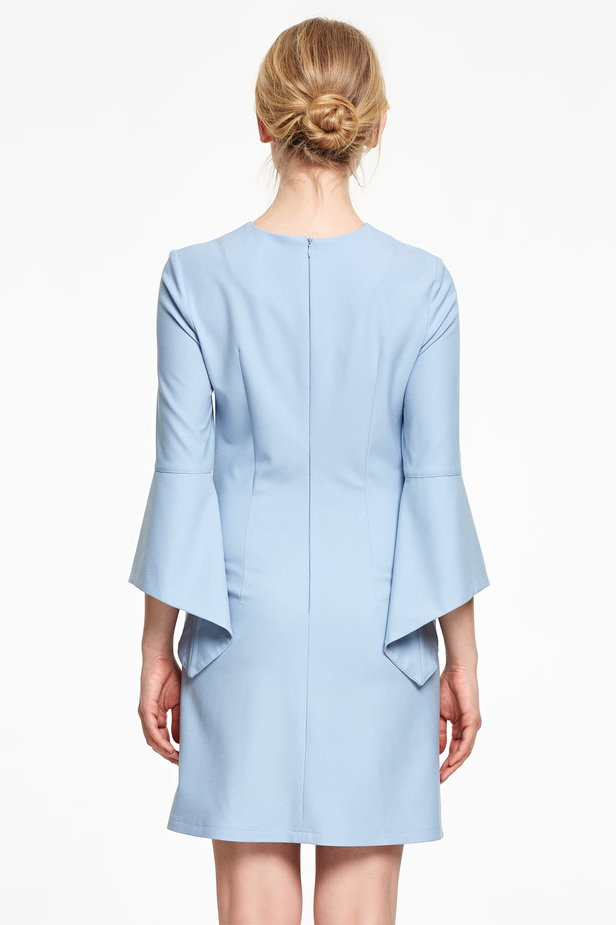 Above the knee blue dress with flounced sleeves photo 5 - MustHave online store