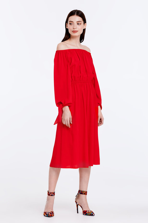 Off-shoulder red dress photo 3 - MustHave online store