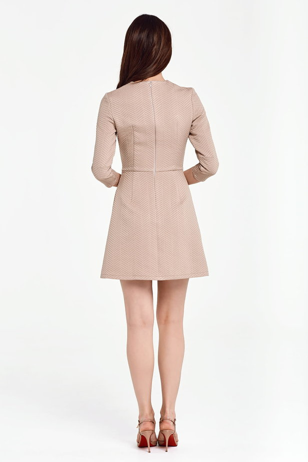 Above the knee A-line beige dress photo 3 - MustHave online store