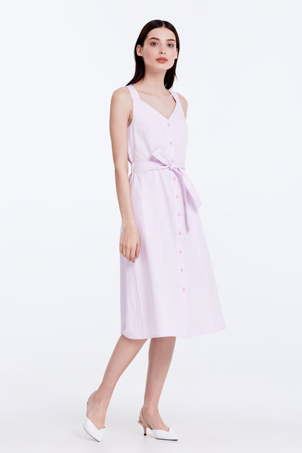 Light-pink sundress with a belt photo 3 - MustHave online store
