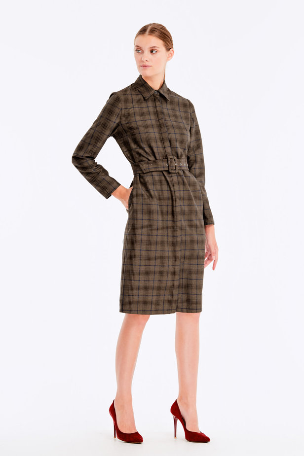 Brown dress with dark-blue check print photo 4 - MustHave online store
