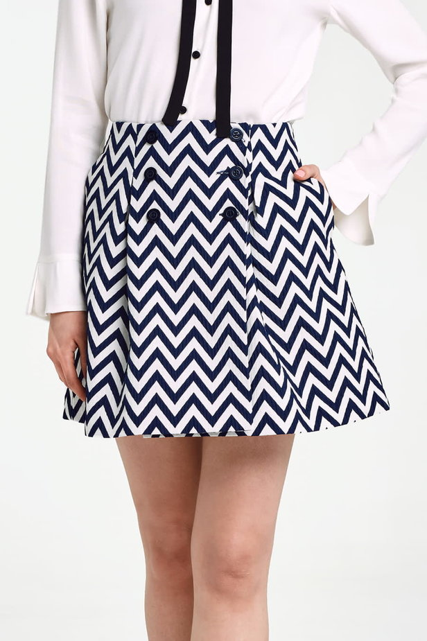 Skirt with white and blue zigzag and buttons photo 1 - MustHave online store