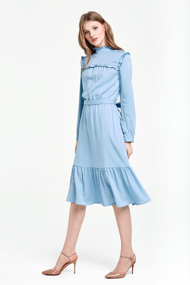 Blue dress with a ruffle yoke photo 3 - MustHave online store