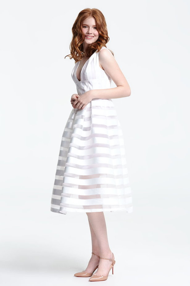 Midi striped white dress with a low neckline photo 2 - MustHave online store