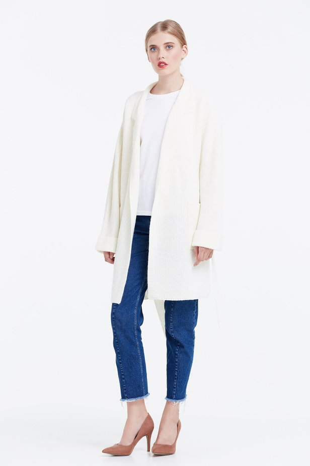 Milky cardigan with a belt photo 5 - MustHave online store