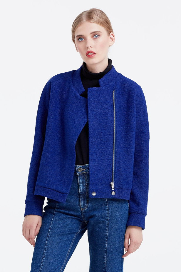 Blue jacket with an asymmetrical closing photo 1 - MustHave online store