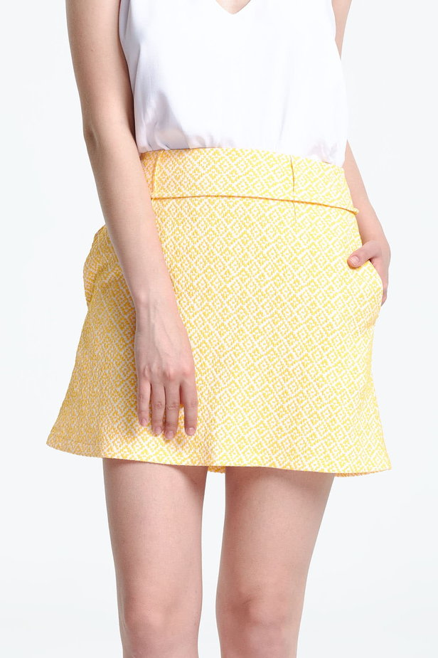 Mini skirt with a yellow pattern photo 1 - MustHave online store