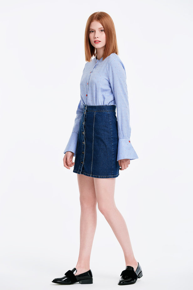 Mini denim skirt with buttons photo 4 - MustHave online store