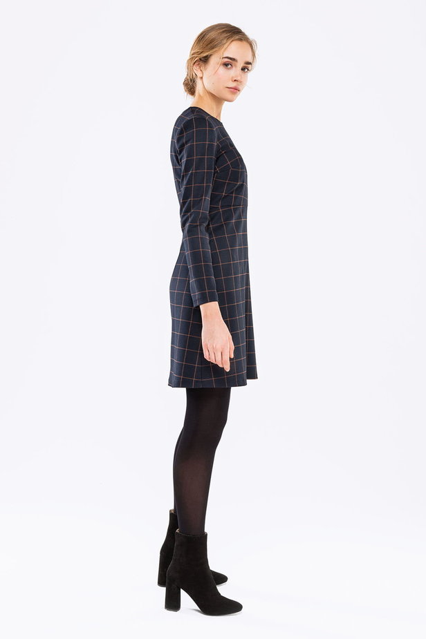 Blue A-line checked dress photo 4 - MustHave online store