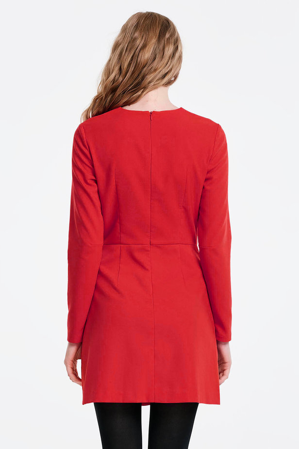 Wrap red dress with a pocket photo 4 - MustHave online store