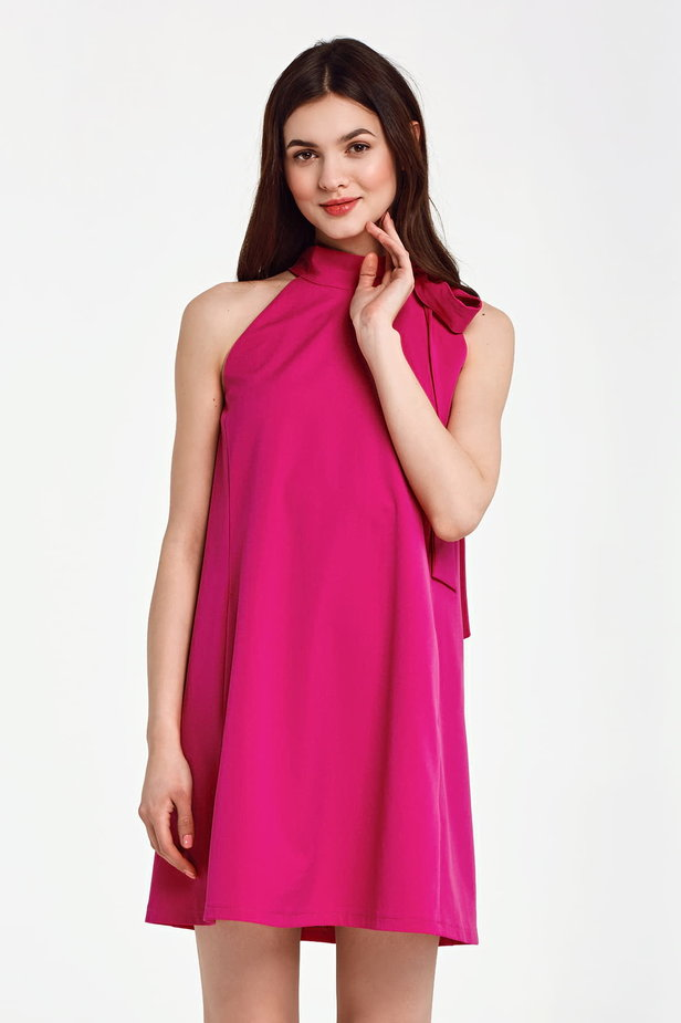 Fuschia swing dress with a bow photo 1 - MustHave online store