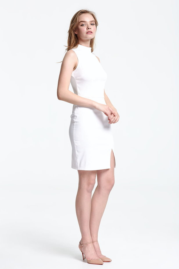 Above the knee white dress with a slit photo 5 - MustHave online store