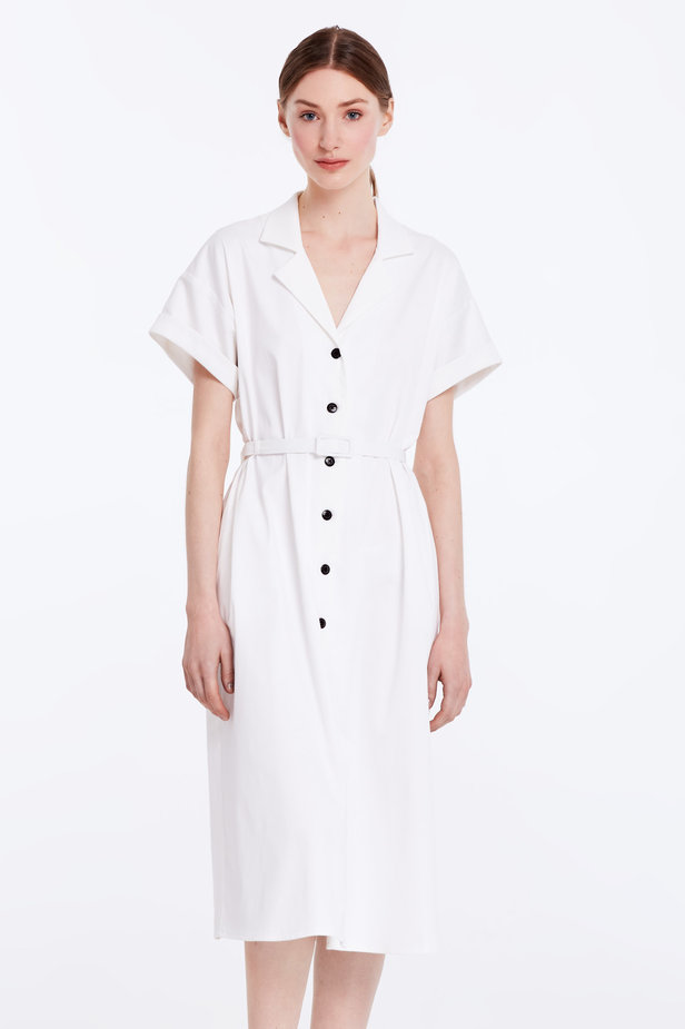 White dress with buttons and a belt photo 1 - MustHave online store