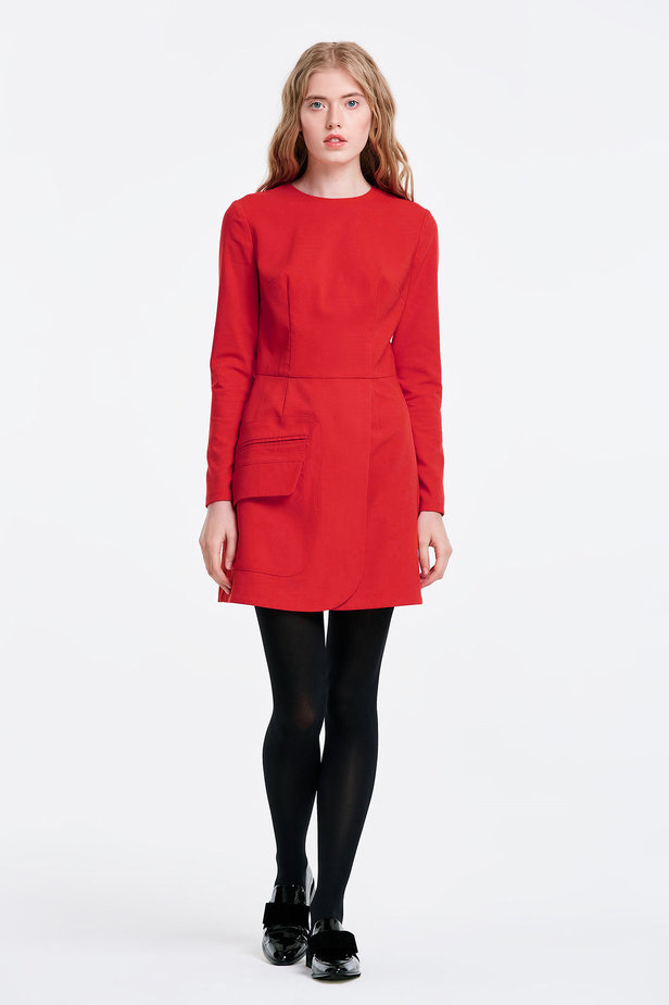 Wrap red dress with a pocket photo 7 - MustHave online store
