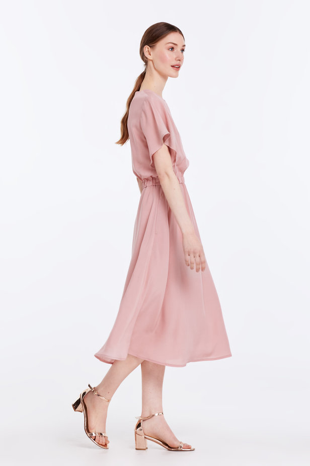 Midi powder pink dress with an elastic waistband photo 6 - MustHave online store