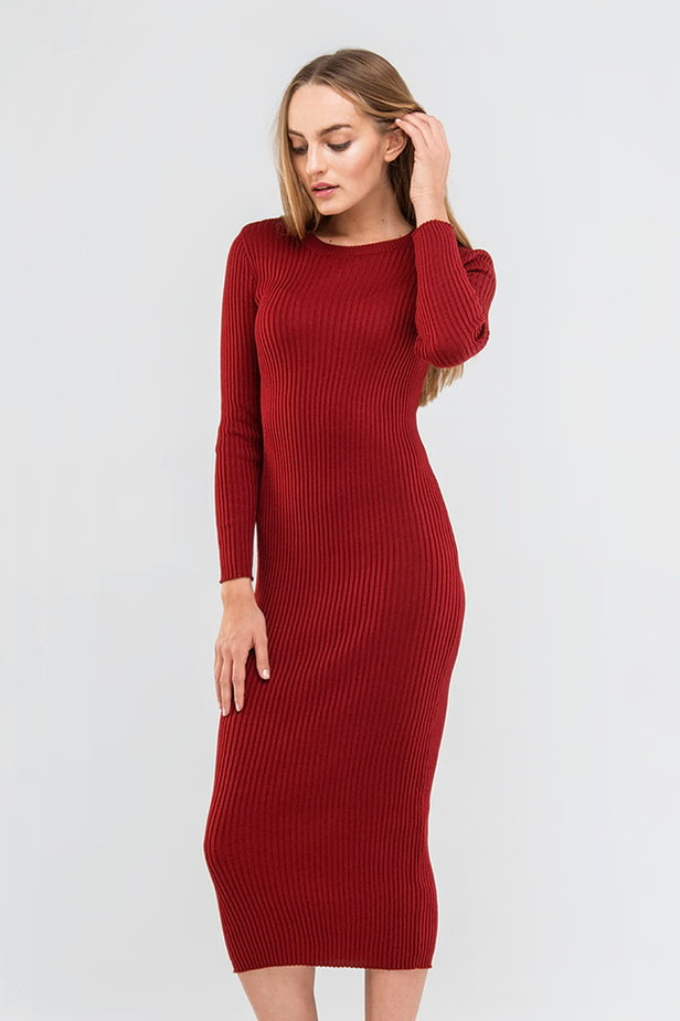 Wine knit sheath midi dress photo 1 - MustHave online store