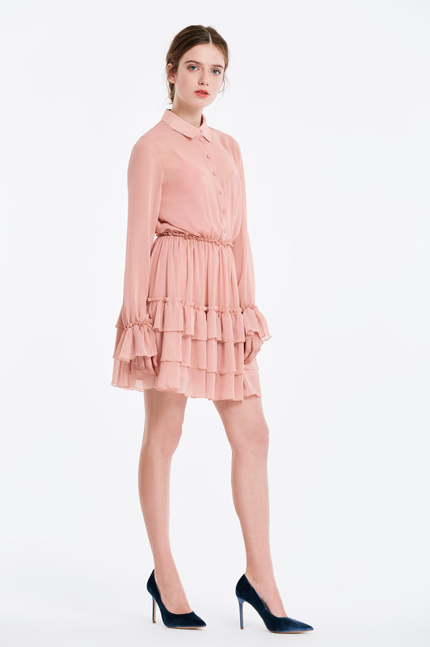 Powder pink dress with flounces photo 4 - MustHave online store
