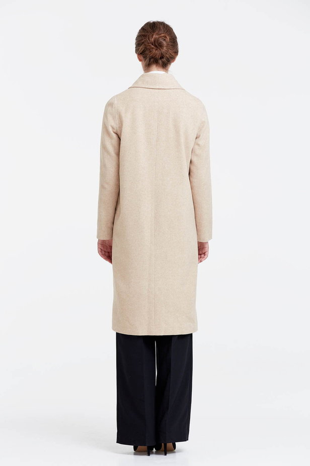 Below the knee double-breasted beige coat photo 3 - MustHave online store