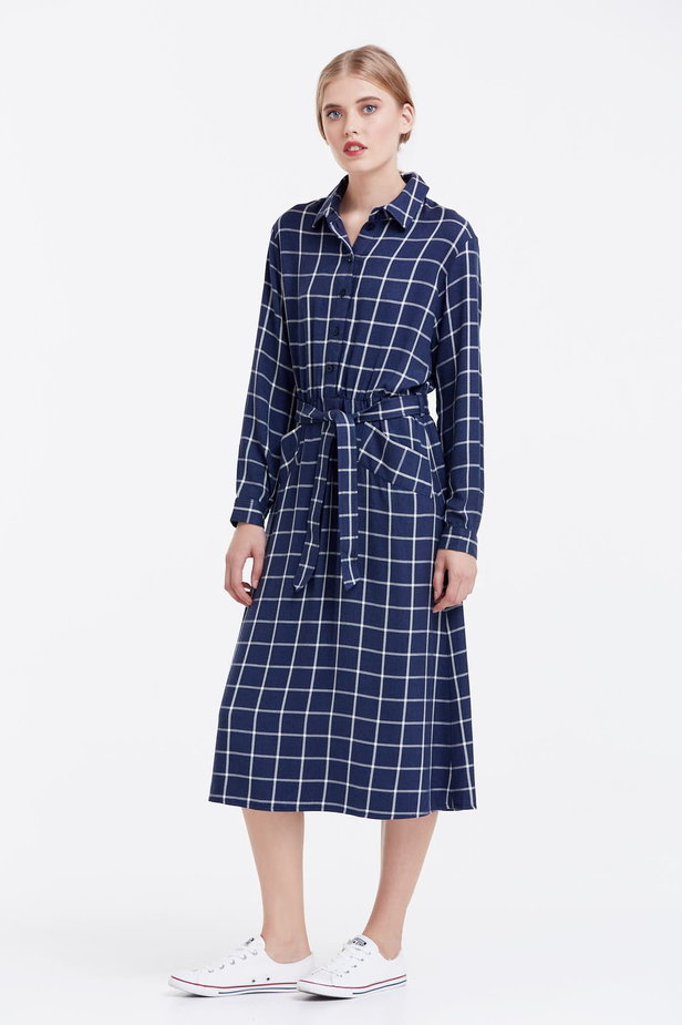 Midi checked blue dress with a belt photo 2 - MustHave online store