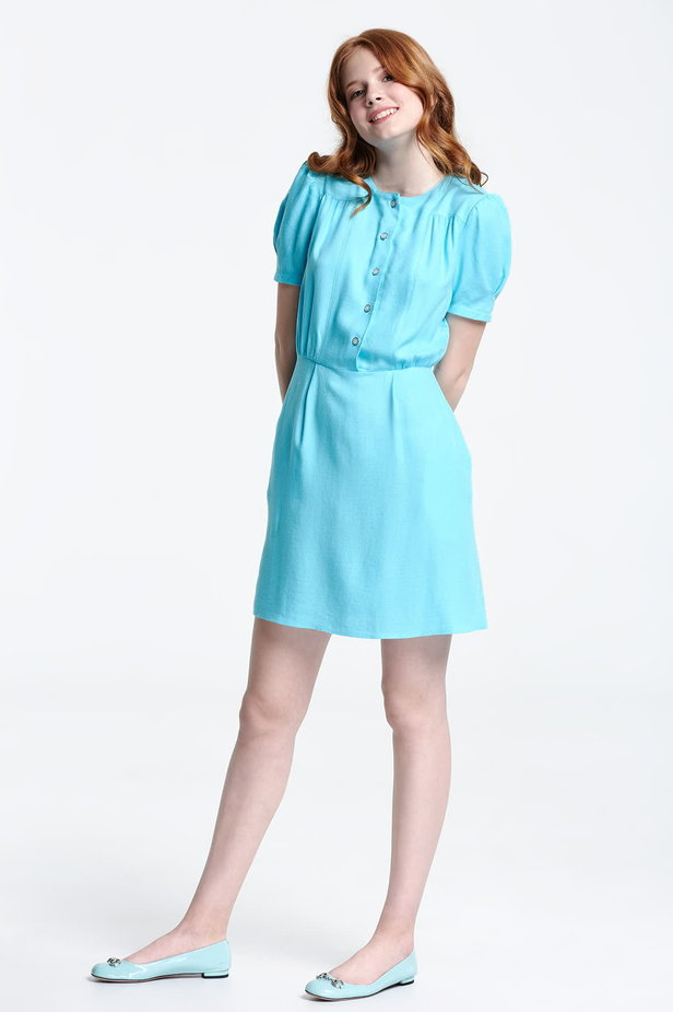 Blue shirt dress with balloon sleeves photo 2 - MustHave online store